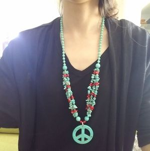 Jewelry - Turquoise Stone Peace Sign Necklace